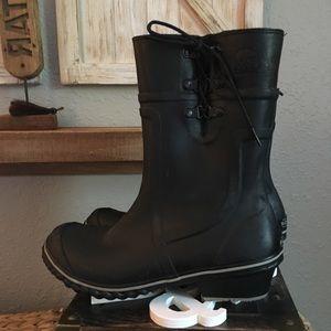 New! Sorel Black Tie Rubber Rain Boots